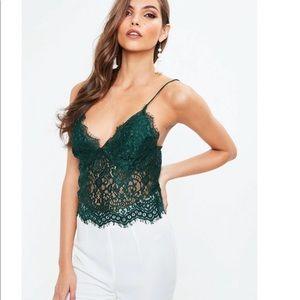 Tall green lace slip bralette